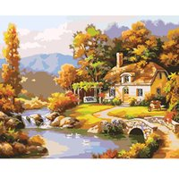 Números De Imagen Diy Baratos-Kits Mountain Hut Oil Painting DIY Lienzo digital Arte de la pared por números Imágenes para colorear Grandes pinturas acrílicas