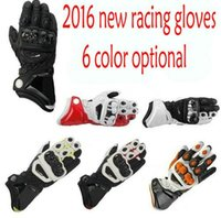 Wholesale Long Black Motorcycle Gloves - 2016 Model TOP New 100% Original GP PRO Motorcycle Gloves TOP Genuine Leather Motorbike Long Gloves MotoGP Road Racing Gloves