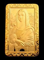 Wholesale 24k Gold Plated Coins - Exquisite Da Vinci Mona Lisa Smile 24K Gold Plated Commemorative Coin Token