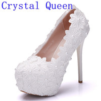 Wholesale beautiful dance dresses - Crystal Queen New Platform Beautiful Pearl Lace White Wedding Shoes Women Pumps Party Dance Sexy High Heeled Shoes 8 10 12 14 CM