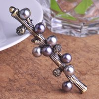 Wholesale Vintage Lucky Brand - Wholesale- Black Pearl Brooch Vintage Lucky Tree Brooches Hijab Pins Corsages For Wedding Dress Acessorios Para Mulher Brand Jewelry Bijoux