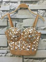 Wholesale Bra Top Club - Wholesale- P145 Hand-made Beaded Gaga Rhinestone Bustier Pearls Push Up Night Club Bralette Women's Bra Cropped Top Vest Plus Size