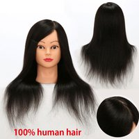 Wholesale Practice Head Human Hair - Human Hair Mannequin Training Head 100% Full Brazilian Hair Natural Black Color Practice Model Head Free Shipping