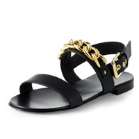 Wholesale Boots Metal Chain Flat - Summer Leisure Korean Buckle Style Male Shoes Metal Chain Roman Shoes Leather Men's Sandals Holiday Beach