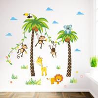 Wholesale Tree Swing Decal - Cartoon Monkey Swing on the Coconut Tree Wall Stickers for Kids Babies Room Wall Decoration Cloud Grass Bird Elephant Giraffe Wall Mural Art