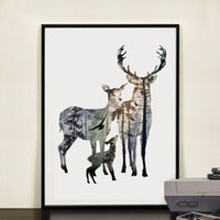 Wholesale Pine Panel - Silhouette of Deer Family with Pine Forest Canvas Art Print Painting Poster, Wall Picture for Home Decoration, Home Decor