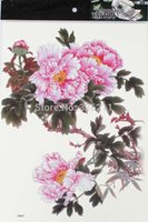 Wholesale Peony Flowers Pictures - lower pictures paint 3pcs large big Peony flower designs Temporary tattoos stickers Waterproof body paint fake tatoo new for women free ...