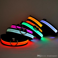Wholesale solid color nylon dog collars for sale - Group buy Factory Price new colors nylon LED flashing dog collar LED pet collars necklace cat collar leahes for walking freeshipping P02