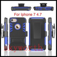 Hybrid Armor Shockproof Ceinture Clip Kickstand Carte Holder Case pour iPhone 7 5S 5SE 6 6S Plus Samsung Galaxy S6 S7 Edge