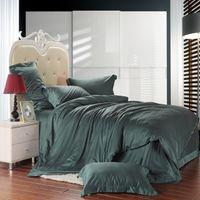 Wholesale Tencel Fabric Sheets - Dark Green solid color bedding set king queen size bedclothes Elegant soft Tencel Soft Fabric Duvet Blanket cover bed Sheet sets