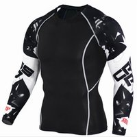 Wholesale Crossfit Pink - Mens Compression Shirts 3D Teen Wolf Jerseys Long Sleeve T Shirt Fitness Men Lycra MMA Crossfit T-Shirts Tights Brand Clothing