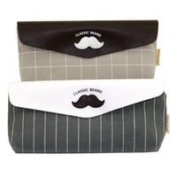 Wholesale Material Curtains - Wholesale- 1 Pcs Canvas+PU Material Moustache Mr Boat Pencil Case Student Stationery Bags Pencil Bags Pen Curtain School Pencil Bag