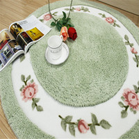 Wholesale Thick Shaggy Bathroom Rugs - Free Shipping round pastoral Washable New Thick micro fabric yoga Carpet Shaggy Rugs Bathmat Bathroom Colours for living bed room anti slip