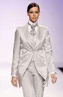 Wholesale Tuxedo Pants Suits For Women - Fashion off white women Tuxedos peaked Lapel suits for women one button women suits wool blend three piece Suit (Jacket+Pants+vest+tie) j823