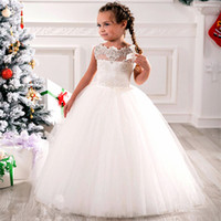 Wholesale Printing Wedding Pictures - Cheap Flower Girls Dresses Tulle Lace Top Spaghetti Formal Kids Wear For Party 2017 Free Shipping Toddler Gowns