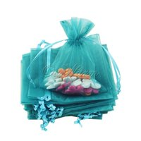 """Wholesale Teal Candy - Wholesale- 50pcs lot Teal Blue Strong Sheer Organza Pouch Wedding Favors Gift Candy Bag Hot Sale Festive Party Supplies 4"""" x 6""""(10cmx15cm)"""