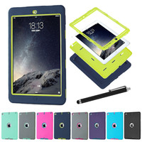 Wholesale Ipad Defenders - hot 3 in 1 Defender waterproof shockproof Robot Case military Heavy Duty silicon cover for ipad air ipad 234 ipad mini