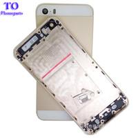 cubierta de la cubierta de la parte posterior del iphone 5s al por mayor-50pcs tapa trasera de metal con tapa de batería con bandeja de tarjeta SIM + botón de volumen + botón de encendido para iPhone 5 5G 5S cubierta de carcasa