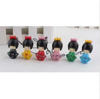 bonecas japonês kokeshi venda por atacado-Frete grátis Hot fashion 24 pcs Bonito Japonês Kokeshi Boneca pingente móvel / cinta / chaveiro / saco Pendand