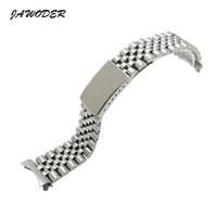 polegada braceletes venda por atacado-Jawwer pulseira homens mulheres13 17 20mm puro e sólido de aço inoxidável polimento + escovado pulseira de relógio banda de implantação fivela pulseiras para rolex