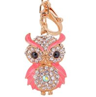 Wholesale cars keychains free shipping for sale - Cute Owl Crystal Key Chains Rings Holder For Women Rhinestone Purse Bag Buckle Pendant For Car DHL free ship