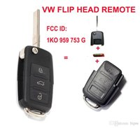 Wholesale Transmitter Chip - 1K0 959 753 G Folding Flip Key Keyless Entry Remote Transmitter For VW VOLKSWAGEN SEAT 3 Button 434MHZ With ID48 Chip