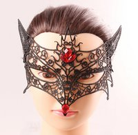 Wholesale Xmas Half Mask - Masquerade Halloween Fox Cosplay Mask Xmas Venetian Party Masks Fashion Half Face Mask for Women Ladies Cheap Sexy Black Lace Red Crystal