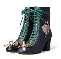Wholesale metal toe boots - 2017 New Fashion Women Square High Heels Ankle Boots Ladies Embroidery Flower Lace up Boots Metal Bowtie Boots For Woman Size 35-42
