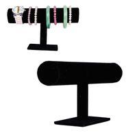 Wholesale Chain Velvet Display - 2016 Joyero Organizador free Shipping Black Velvet Bracelet Bangle Chain Watch T-bar Rack Jewelry Display Stand Holder Porps Box Wholesale