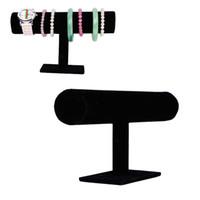 bilezik tutacakları toptan satış-2018 Joyero Organizador ücretsiz Kargo Siyah Kadife Bilezik Bileklik Zincir İzle T-bar Raf Takı Ekran Standı Tutucu Porps Kutusu toptan