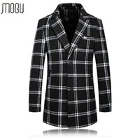 Wholesale Wool Coat Style For Man - Wholesale- manteau homme 2016 Plus Size 5XL Wool Jackets For Men Long Thicken Plaid Winter Coats Man British Style Fashion Casual Cappotto