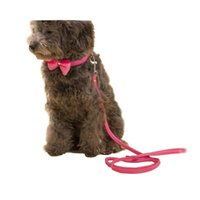 Wholesale Large Breed Cat - Hipidog Dog Cat Luxury Adjustable Soft Leather Bowknot Collar and Leash Set for Small Medium Large Dogs Breed