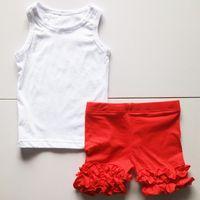 Wholesale Tank Girl Leggings - girls red short leggings and tanks fashion ruched shorts set children clothing sets summer wholesale set