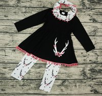 Wholesale Long Sleeve Ruffle Outfits - fall baby girl clothes kids boutique clothing sets girls scarf + tassel long sleeve dress black top + pants childrens outfits 3 piece cotton