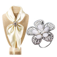 Wholesale Scarf Accessories Bronze - Accessories Bohemia Vintage Bronze Silver Flower Stone Brooch Scarf Clips Lapel Pins Scarf Buckle Jewelry CY161
