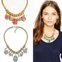 ingrosso orecchini di turchese delle collane-DHL Fashion New Vintage Style Bohemian Turquoise Women Set di gioielli Set di orecchini per collana per regalo di Natale da donna