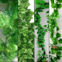 Vente en gros - 10pcs / lot 2.3M 4 Styles Artificial Ivy Leaf Hanging Garland Flower Vine pour DIY Accueil Wedding Floral Wall Garden Decor