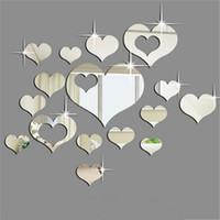 ingrosso autoadesivo della parete di amore 3d specchio-Adesivo da parete con superficie a specchio Adesivo a forma di cuore in acrilico 3D Adesivi creativi per la moda a forma di divano Retro Art Decor removibile 10bj F R