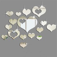 Wholesale Love Heart 3d Stickers - Mirror Surface Wall Sticker 3D Acrylic Heart Shaped Creative Fashion Love Stickers Sofa Back Ground Art Decor Removable 10bj F R