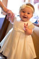 Wholesale Making Baby Bows Headbands - Toddler Girls Christening Gown White Ivory Satin Baby Girl Baptism Headband Bow 2017 Custom Made 0-24month