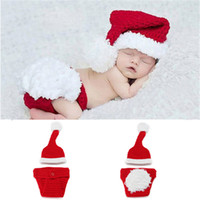 Wholesale Crochet Sets For Infants - Newborn Baby Santa Claus Photo Props Infant Baby Christmas Hat Diaper Set Crochet Baby Hat Shorts Set for Photo Shoot MZS-14032