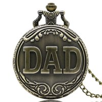 Papai Padrão Quartz Pocket Watch Necklace 2017 Retro Antique Bronze Pingente com Corrente Fob Assista Feliz Dia dos Pais Presentes Jóias