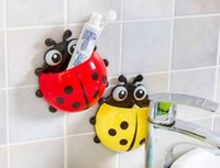 50pcs / lot New Cute Funny Cartoon Jaune / Rouge / Bleu / Green Ladybug Sucker Succout Succédant Tooth Brush Holder Livraison gratuite