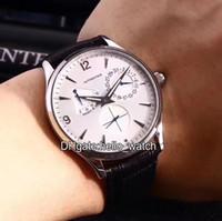 männer leder uhren dünn großhandel-Hohe Qualität MASTER ULTRA THIN Q1378420 Weißes Zifferblatt 41mm Automatische Herrenuhr Saphirglas Lederband Faltende Schnalle Uhren