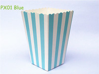 Vente en gros - 12pcs / lot Mini bébé Blue Stripe Paper Popcorn Boxes Pop corn Bags Wedding Kids Birthday Party Favors