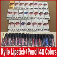 Wholesale Velvet Stockings - KYLIE JENNER LIP KIT lipliner Lipkit Velvetine Liquid Matte Lipstick kits in Red Velvet Makeup Lip Gloss with liner pencil 40colors in stock