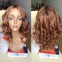 Wholesale Highlighted Human Lace Front Wigs - Body Wave Lace Wig Peruvian Wavy Full Lace Wigs Highlight Color Brown #613 Unprocessed Virgin Human Hair Lace Front Wigs Black Women