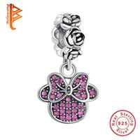 Wholesale Heart Knot Necklace - BELAWANG European 925 Sterling Silver Pink Dangle Charm Bow Knot Beads Fit Pandora Charm Bracelet&Necklace for Christmas Day Jewelry Gift