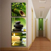 Wholesale Bamboo Canvas Art - Bamboo stone flower 3 Pieces modern HD print Scenery paintings on canvas wall art pictures home decoration for living room