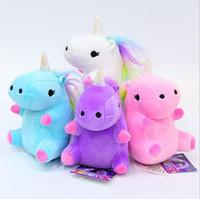 Wholesale Trendy Baby Colors - Unicorn Plush toys Pendant cartoon Keychain unicorn Stuffed Animals for baby Christmas gift 4 colors 12 CM YYA703